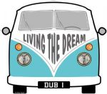 LIVING THE DREAM Slogan For Retro SPLIT SCREEN VW Camper Van Bus Design External Vinyl Car Sticker 90x80mm